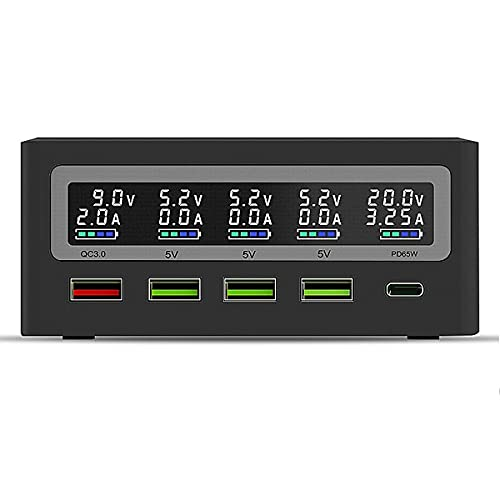 PinePower – Cargador universal de 120 W de escritorio 1 USB-C PD, 1 USB-A QC 3.0 y 3 USB-A 2.4 V, Power Supply – EU Version