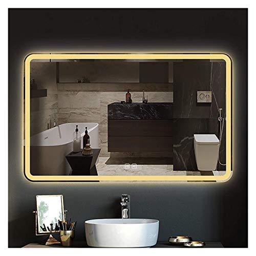 Espejo de baño con LED, espejo de maquillaje iluminado para baño, espejo de pared grande (color: tres colores, tamaño: 50 x 70 cm)