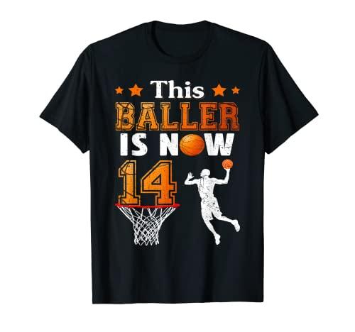 Regalos de cumpleaños 14 Este Baller es ahora 14 Baloncesto Camiseta