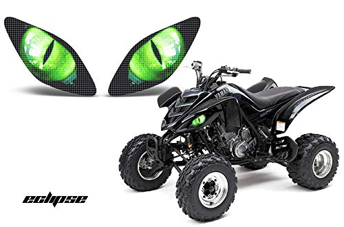AMR Racing ATV Headlight Eye Graphics Decal Cover Compatible with Yamaha Raptor 660 2001-2005 Eclipse Green