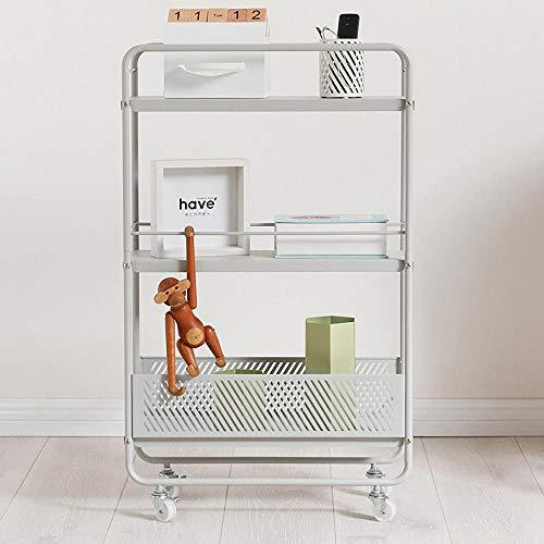 3-Etagen Storage Shelves auf Rollen,Grau Stahl Regalwagen für Badezimmer, Küche, Büro, Bibliothek