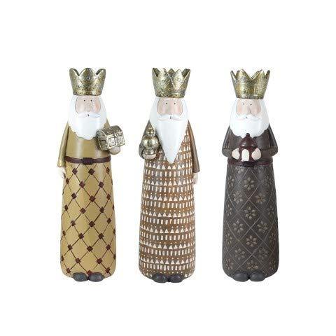 CAPRILO Set de 3 Figuras Decorativas Religiosas de Resina Reyes Magos. Adornos y Esculturas. Belenes. Decoración Hogar. Regalos Originales. Navidad. 30 x 8 x 8 cm.
