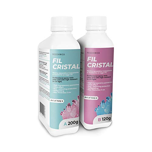RESCHIMICA FIL CRISTAL (320 g) Resina epoxi de dos componentes ultra transparente, Efecto de agua, Autonivelación, Filtro UV especial anti-amarilleo, endurecimiento en 12/24 H.