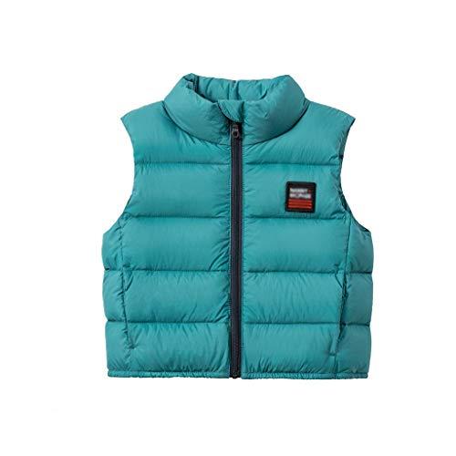 Suave Chaqueta de chaleco de nios con cremallera completa chalecos sin mangas de ropa exterior con collar de soporte chaqueta sin mangas chaleco chaleco Outwear ( Color : Green , tamao : XXX-Large )