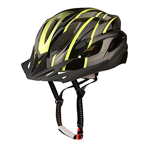 KINGLEAD Casco Bici con Luce di Sicurezza, Casco da Ciclismo Unisex Certificato CE Bici da Corsa All'aperto Sicurezza Casco Bicicletta Superleggero Regolabile (nero titanio verde)
