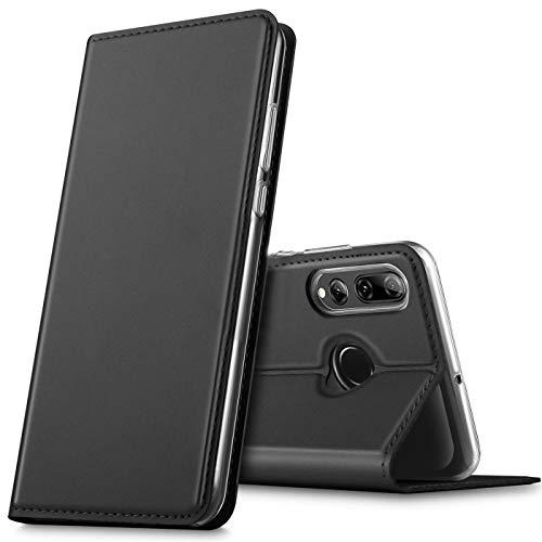 Verco Handyhülle für P Smart+ (2019), Premium Handy Flip Cover für Huawei P Smart Plus 2019 Hülle [integr. Magnet] Book Hülle PU Leder Tasche, Schwarz