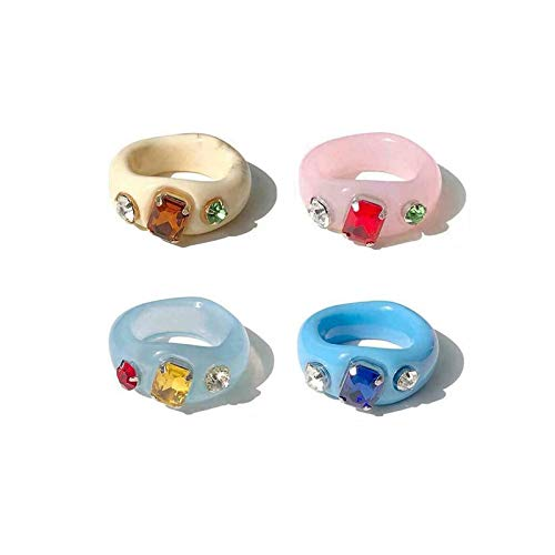 Anillo de resina de 4 piezas, anillo para mujer, joyería de resina vintage retro, anillo de diamante acrílico de resina retro, anillo de diamante acrílico de resina retro, anillo de dedo índice para