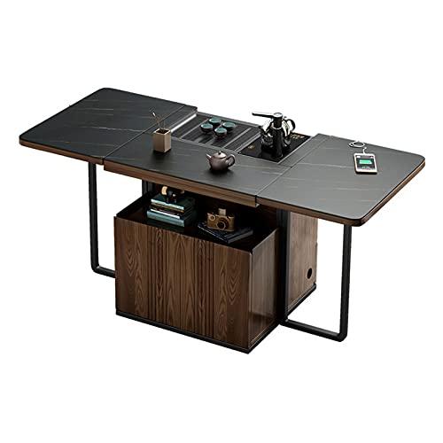 Mesa De Té Móvil Multifuncional, Mesa De Centro Plegable, Mesa De Centro con Compartimiento De Almacenamiento Oculto, Adecuado para Sala De Estar,Negro