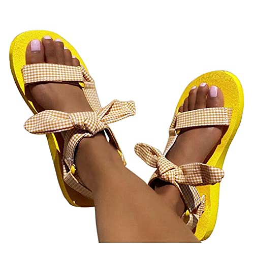Sandales d'été décontractées pour femme - Sandales plates - Grande taille - Confortables et respirantes - Avec arc - Pour l'été