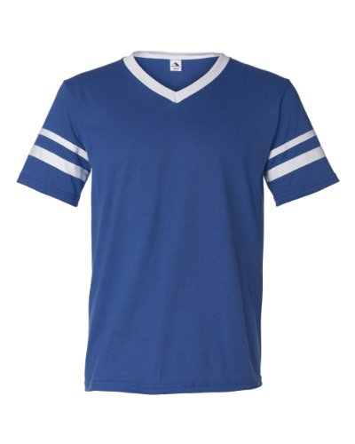 Augusta Sportswear V-Neck Jersey with Striped Sleeves, XL, Royal/White