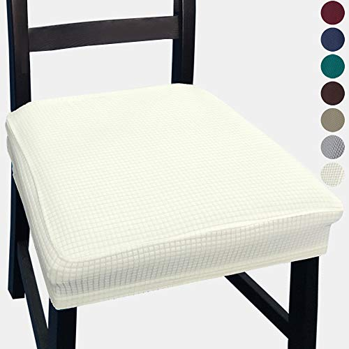 NORTHERN BROTHERS Dining Chair Seat Covers - Chair Seat Covers, Chair Seat Covers for Dining Room (Beige, 4)