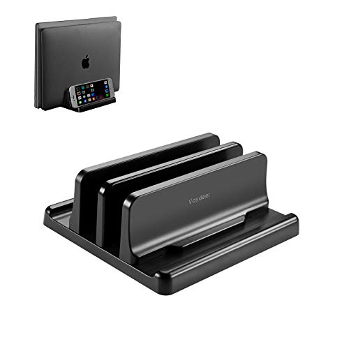 VAYDEER Double Adjustable Vertical Laptop Stand 2 Slots Made of Premium ABS Plastic 3 in 1 Design Space-Saving for All MacBook/Chromebook/Surface/Dell/iPad Up to 17.3 Inches - Black