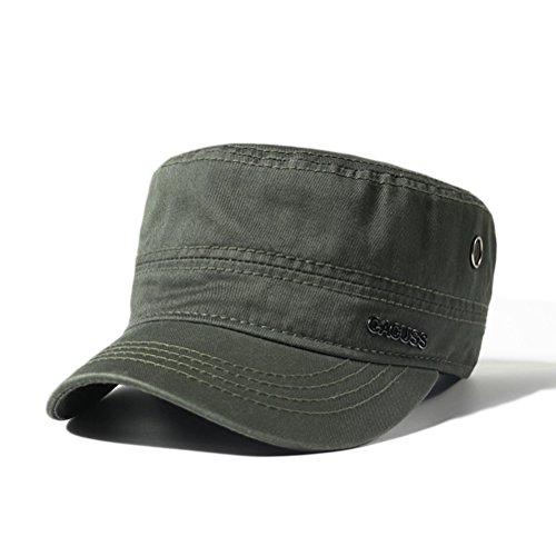 CACUSS Unisex Cappello Militare Cadetto Cadet cap Uomini Cotone Cappello da Baseball Regolabile per Ambientazione Esterna, Sport, Viaggi (P0042_Oliva)