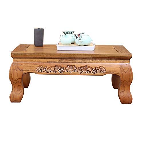 Ulmenholz Tisch Tee Zeremonie Niedriger Tisch Orchideenrelief Massivholz Tatami Tisch Erker Kleiner Couchtisch Tiger Bein Design (Color : Brown, Size : 70 * 45 * 25cm)