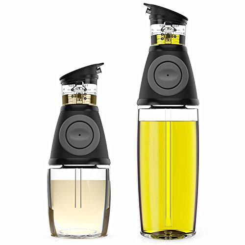 Belwares Olive Oil Dispenser Bottle Set - 2 Pack Oil and Vinegar Cruet with Drip-Free Spouts - Includes 17oz [500ml] and 9oz [250ml] Sized Bottles