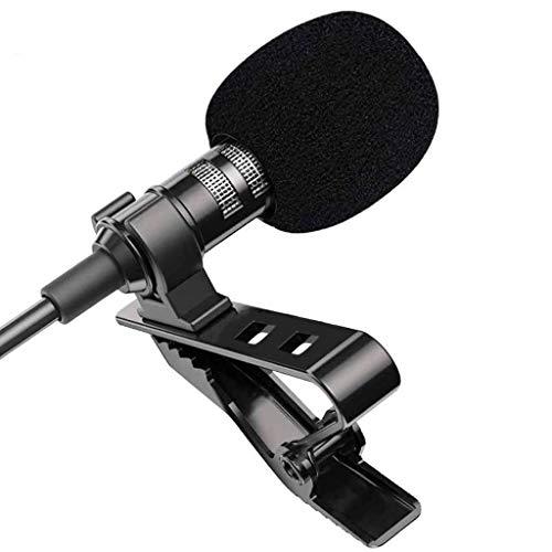 JYDQB 1.5m Mini micrófono portátil Condensador con Clip de Solapa Microfon con Cable para teléfono para computadora portátil