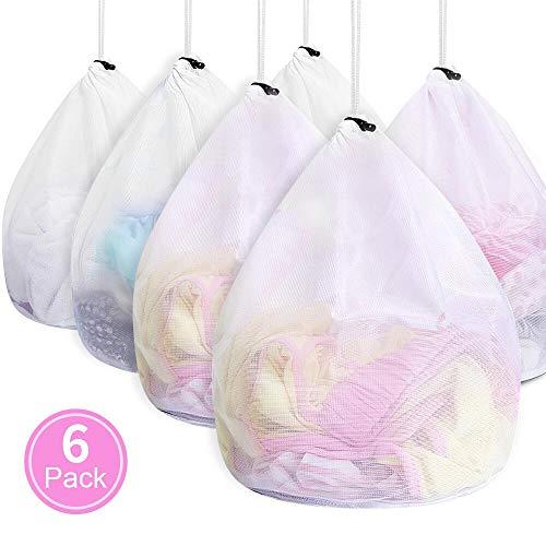 Wäschesäcke für Waschmaschine, ASANMU 6 Stück Wäschebeutel Waschmaschine mit Kordelstopper Wiederverwendbare Groß Netzbeutel für Wäsche/Schutz/Waschnetz, Waeschesack für Babywäsche/Unterwäsche/Socken