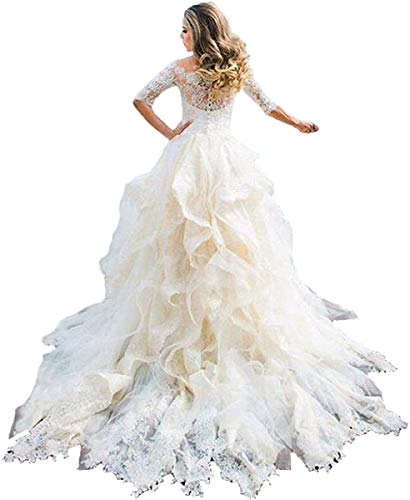 Melisa Women's Off The Shoulder 3/4 Sleeves Lace Sequins Wedding Dresses for Bride with Ruffles Train Bridal Ball Gowns Ivory
