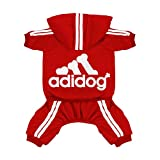 Scheppend Original Adidog Pet Clothes for Dog Cat Puppy Hoodies Coat Doggie Winter Sweatshirt Warm Sweater Dog Outfits, Red Small