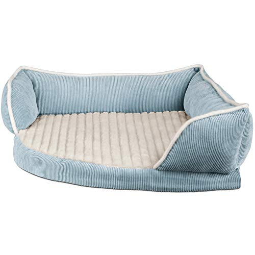 Paws & Pals Dog Bed for Pets & Cats - Triangle Corner Lounger with Self Warming Cozy Inner Cushion for Home Crate & Travel - Medium, Blue