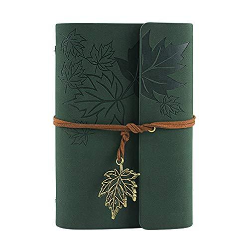 Cuaderno A6 / A7, cuaderno de anillas, diario vacío de piel sintética, encuadernador retro, diario para hombres y mujeres, regalo con páginas vacías y colgante de lechuza, diario de viaje, color a A7