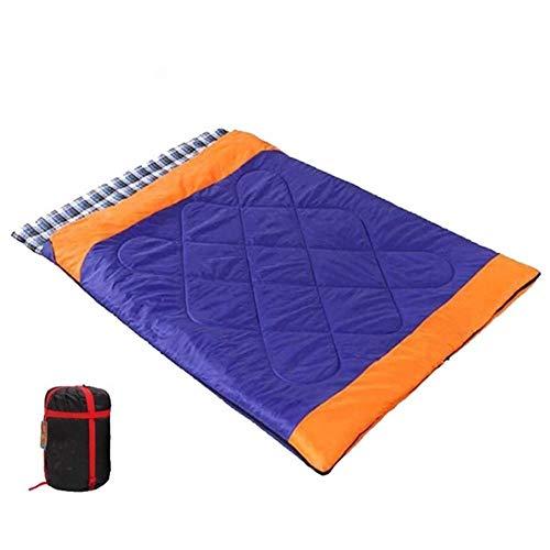 Sac de couchage coton creux de remplissage à chaud de Cons et respirante polyester 190T Résistance à la déchirure for le camping-randonnée Comprend étanche pour D'interieur Extérieur (Color : Blue)