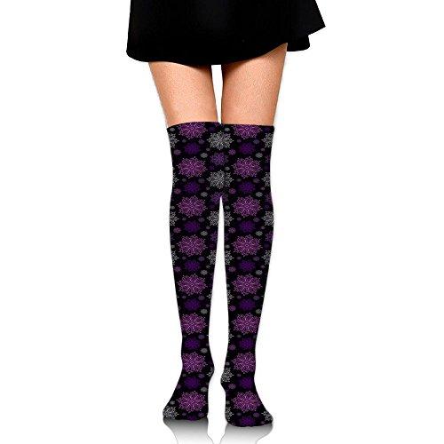 LzVong Snowflake In Black Background Unisex Over Knee High Socks Long Athletic Tube Stockings