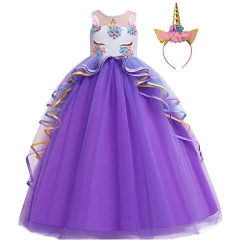 CinheyU Niñas Disfraz de Carnaval Sin Mangas Vestido de Unicornio Princesa Cumpleaños Boda Fiesta de Cosplay para Chicas Navidad Bautizo Comunión Flor Vestidos de Baile con Diadema Morado 4-5
