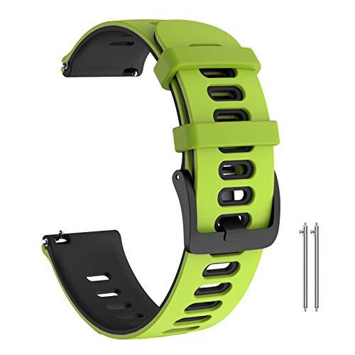 ANBEST Brazalete Compatible con Galaxy Watch 46mm Deportes Pulsera, 22mm Suave Silicona Correa de Reloj para Gear S3 Frontier/Gear S3 Classic/Huawei Watch 2 GT Smart Watch(Verde/Negro)
