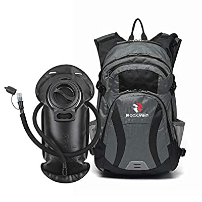 ROCKRAIN WindSeeker Insulation Hydration Cycling Backpack Pack with 2.5L BPA Free Leak Proof Water Bladder, Sufficient Storage Space for Outdoor Gear, for Cycling (Grey)