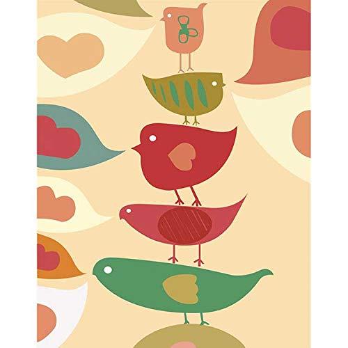 BRT 1 Stuk Kleine Verse Aquarel Vogeldoek Schilderij Cartoon Mooie Vogelposter Slaapkamer Woonkamer Slaapbank Achtergrond Muur Kunst Foto's 40x60cm A010-5