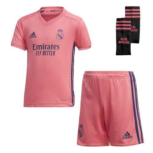 Adidas Real Madrid Temporada 2020/21 Equipación Completa Oficial, Niño, Rosa, 3/4 años