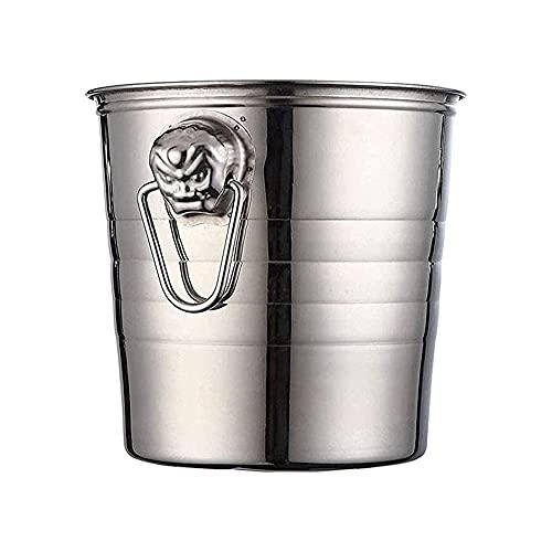 ECSWP JBJTBT Cubo de Hielo de Acero Inoxidable Soporte de Hielo Grueso Contenedor para Bar Party Champagne Wine Barrel Silver (Color : Silver)