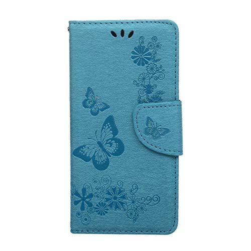 Ufgoszvp Funda para Nokia 5.4, a prueba de golpes, piel sintética, tipo cartera, libro de mariposa, funda protectora magnética de TPU con soporte para tarjetas, ranuras para Nokia 5.4, color azul