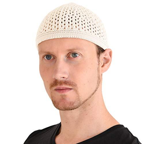 CHARM Casualbox Stricken Baumwolle Schädel Mütze Kufi Islam Gebets Hut Häkel Masche Schädelmütze Beanie Herren Kopfbedeckungen Für Jedes Jahreszeiten Weiß