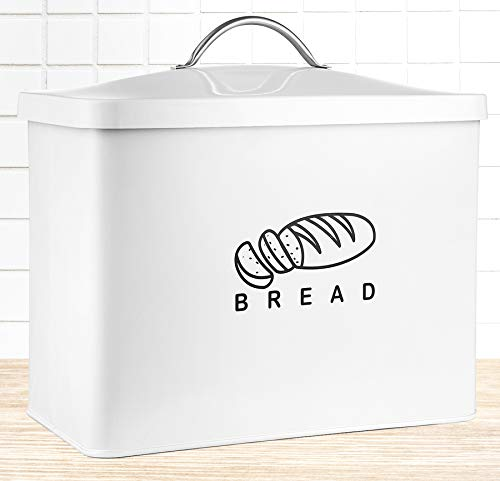 Metal Bread Box, Bread Bin With Lid, Holder For Loaves and Pastries, Storage Container for Kitchen Countertop, Island and Pantry