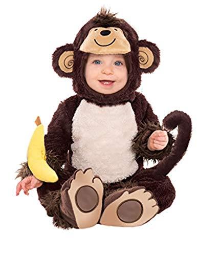 Amscan 997539 - Baby-Kostüm Affe, Overall, Kapuze, integrierter Schwanz, Armrassel, Tier, Karneval, Mottoparty