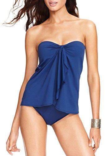 Lauren Ralph Lauren Women's Flyaway Tummy-Control One-Piece Swimsuit, Indigo, 8