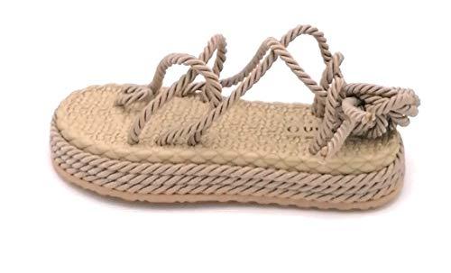 Giada Ovye SW106 Sandale, Zehentrenner, Seil, Natur, Schnürung, Knöchelriemen, Schuhgröße 36 EU Nude
