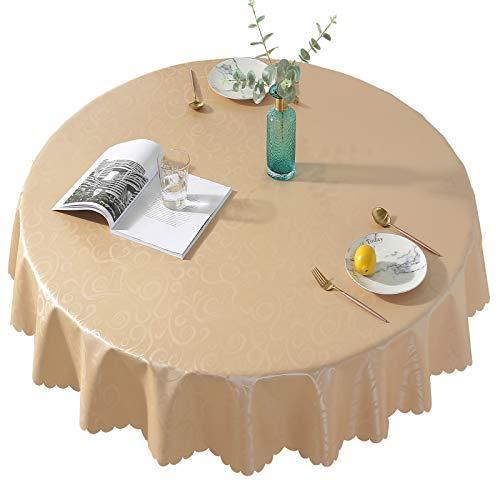 Qualsen Mantel Antimanchas Redondo Impermeable, 180 cm, Manteles Mesa Decorativo para Hogar Comedor del Cocina, Dorado Champagne