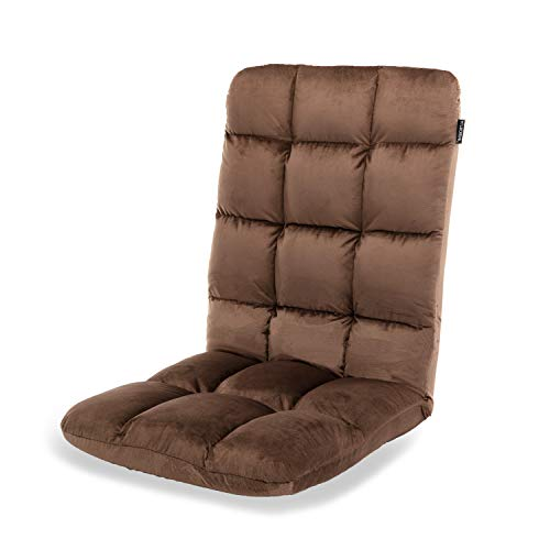 Altrobene High Back Floor Gaming Chair, Lazy Folding Lounger Chair, 5-Position Adjustable Recliner Rocker for Game Recreation Room, Brown