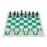 LINGJIA Ajedrez Juego de ajedrez Tradicional de ajedrez portátil de Viaje para Club de torneos con Tablero Enrollable Verde + Bolsa de plástico Juego de ajedrez