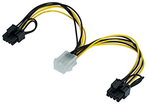 Poppstar 1x 20 cm PCI-Express Y Grafikkarten-Stromkabel (Stromstecker 6-pol Buchse auf 2X 6+2-pol PCIe (m)), Y-Adapter für Stromversorgung (PCI-e Netzteilstromkabel)