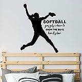 Girl Softball Silhouette Sticker, Softball Quote Wall Decor, Softball Pitcher Decal, 34'X36' Black