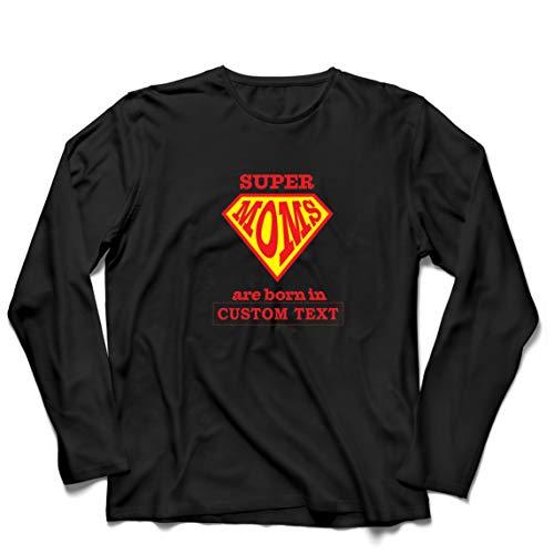 lepni.me Camiseta de Manga Larga para Hombre Regalo de cumpleaños Personalizado para Las Súper Mamás, Idea de Regalo Personalizado (XXXXX-Large Negro Multicolor)