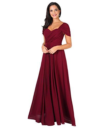 KRISP Damen Kreuz Front Bodenlanges Ballkleid, Abendkleid mit Herzausschnitt und Feinen Details- Gr. 44 (XL), Weinrot (4815)