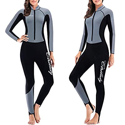 CtriLady Wetsuit, Women 1.5mm Neoprene Full Wetsuit, Long Sleeve Diving Suits with Front Zipper UV Protection Full Body Swimwear for Swimming Diving Surfing Kayaking Snorkeling(S,Gray)