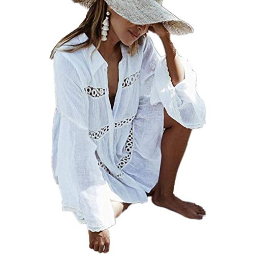 PANAX Damen Strandponcho Hermkleid Baumwolle Strand Bikini Kittel Strandkleid weißA