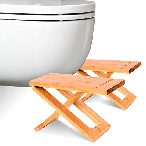 Physiologischer Toilettenhocker aus Bambus – Fußhocker aus Holz zusammenklappbar - Klapp- und Designfußstütze - gesunde Sitzhaltung auf Toilette gegen Verstopfung - Von Ärzten empfohlen