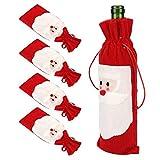 5 unids/Set Santa Claus Navidad con cordón Rojo Vino Botella Cubierta Bolsas Cena Fiesta decoración de Mesa decoración